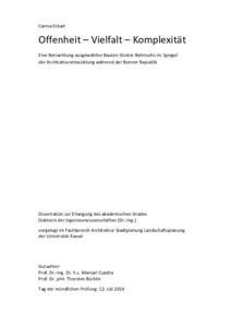 Offenheit Vielfalt Komplexitat Eine Betrachtung Ausgewahlter Bauten Gunter Behnischs Im Spiegel Der Architekturentwi